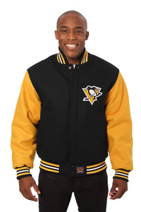 Pittsburgh Penguins Embroidered Wool Jacket - Black/Yellow - JH Design