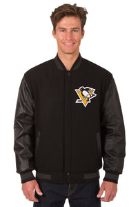 Pittsburgh Penguins Wool & Leather Reversible Jacket w/ Embroidered Logos - Black - JH Design