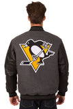 Pittsburgh Penguins Wool & Leather Reversible Jacket w/ Embroidered Logos - Charcoal/Black