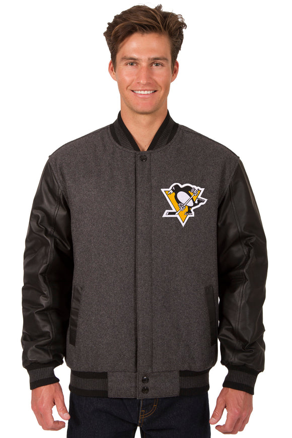 Pittsburgh Penguins Wool & Leather Reversible Jacket w/ Embroidered Logos - Charcoal/Black - JH Design