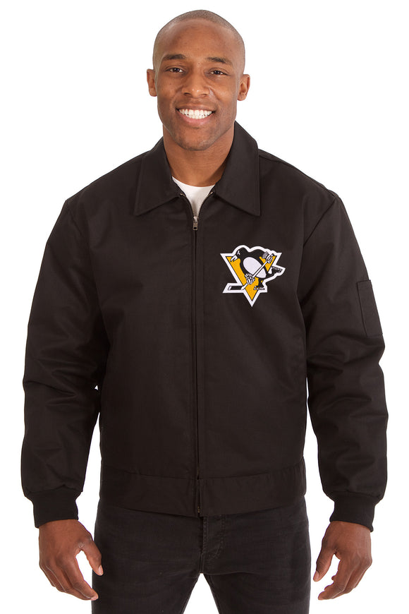 Pittsburgh Penguins Cotton Twill Workwear Jacket - Black - JH Design