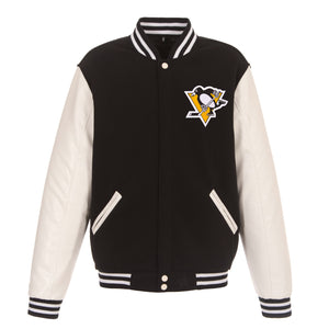 Pittsburgh Penguins JH Design Reversible Fleece Jacket with Faux Leather Sleeves - Black/White - JH Design