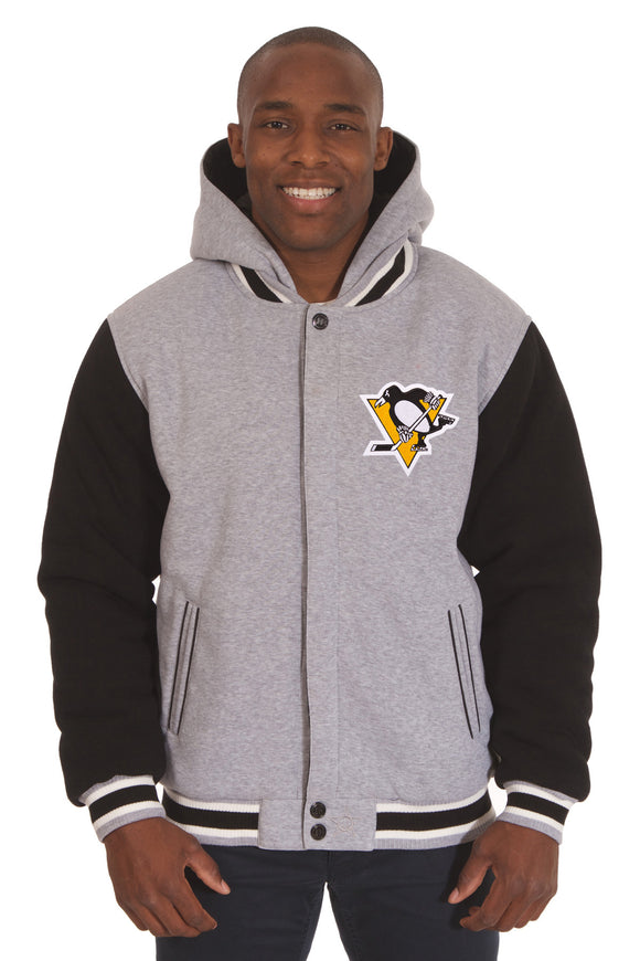 Pittsburgh Penguins Two-Tone Reversible Fleece Hooded Jacket - Gray/Black