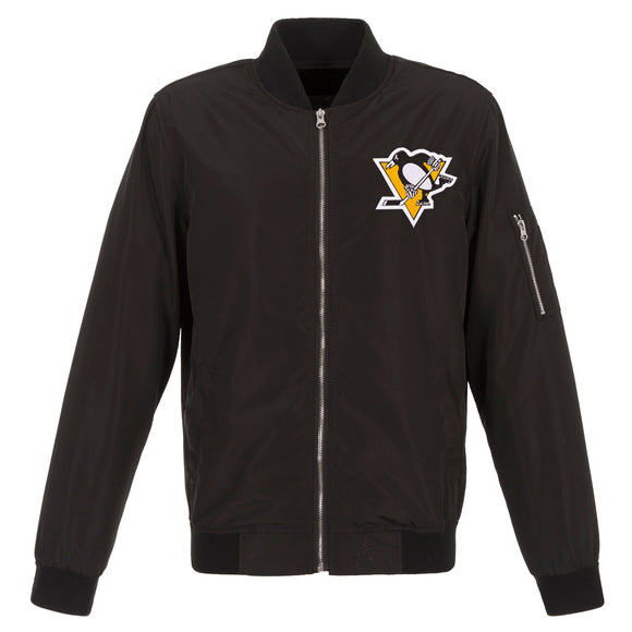 Pittsburgh Penguins JH Design Lightweight Nylon Bomber Jacket – Black