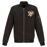Pittsburgh Penguins JH Design Lightweight Nylon Bomber Jacket – Black - JH Design