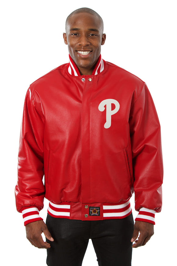 Philadelphia Phillies Full Leather Jacket - Red