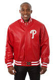Philadelphia Phillies Full Leather Jacket - Red - JH Design