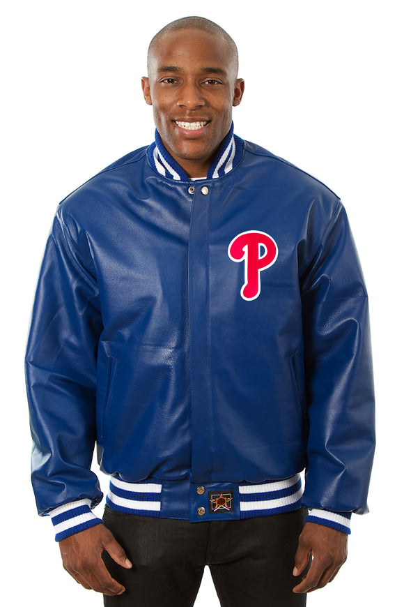 Philadelphia Phillies Full Leather Jacket - Royal - JH Design