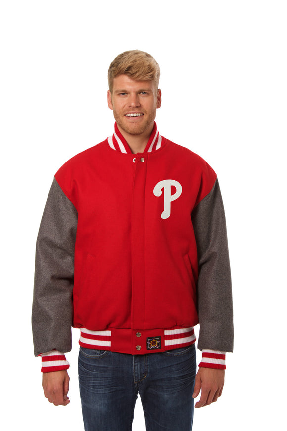 Philadelphia Phillies Two-Tone Wool Jacket w/ Handcrafted Leather Logos - Red/Gray - JH Design
