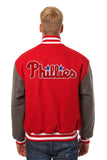 Philadelphia Phillies Embroidered Wool Jacket - Red/Charcoal - JH Design