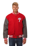 Philadelphia Phillies Embroidered Wool Jacket - Red/Charcoal