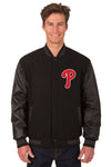 Philadelphia Phillies Wool & Leather Reversible Jacket w/ Embroidered Logos - Black
