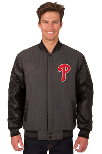 Philadelphia Phillies Wool & Leather Reversible Jacket w/ Embroidered Logos - Charcoal/Black - JH Design
