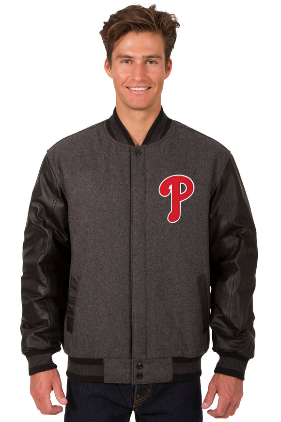 Philadelphia Phillies Wool & Leather Reversible Jacket w/ Embroidered Logos - Charcoal/Black - J.H. Sports Jackets