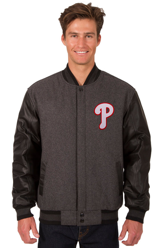 Philadelphia Phillies Wool & Leather Reversible Jacket w/ Embroidered Logos - Charcoal/Black