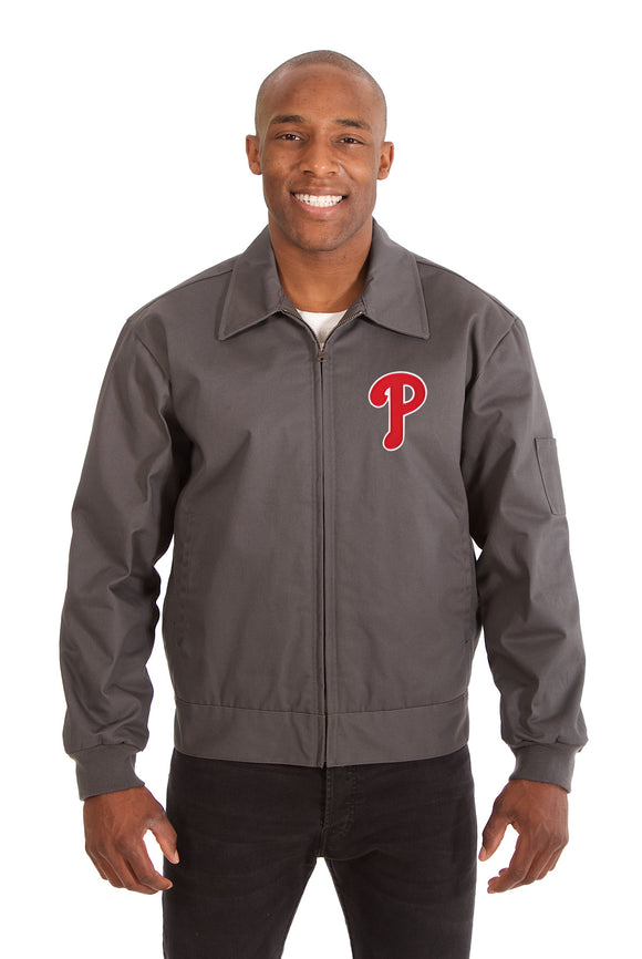 Philadelphia Phillies Cotton Twill Workwear Jacket - Charcoal - JH Design