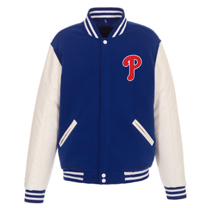 Philadelphia Phillies - JH Design Reversible Fleece Jacket with Faux Leather Sleeves - Royal/White - JH Design