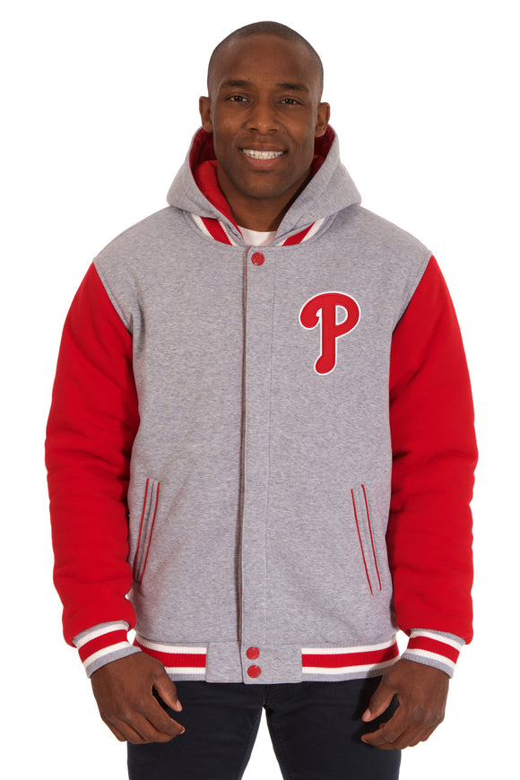 Philadelphia Phillies Two-Tone Reversible Fleece Hooded Jacket - Gray/Red