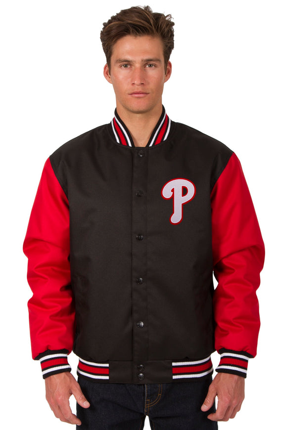 Philadelphia Phillies Poly Twill Varsity Jacket - Black/Red - JH Design