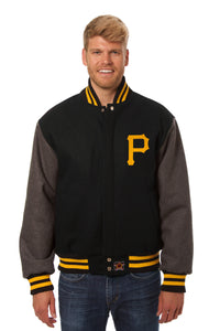 Pittsburgh Pirates Two-Tone Wool Jacket w/ Handcrafted Leather Logos - Black/Gray - JH Design
