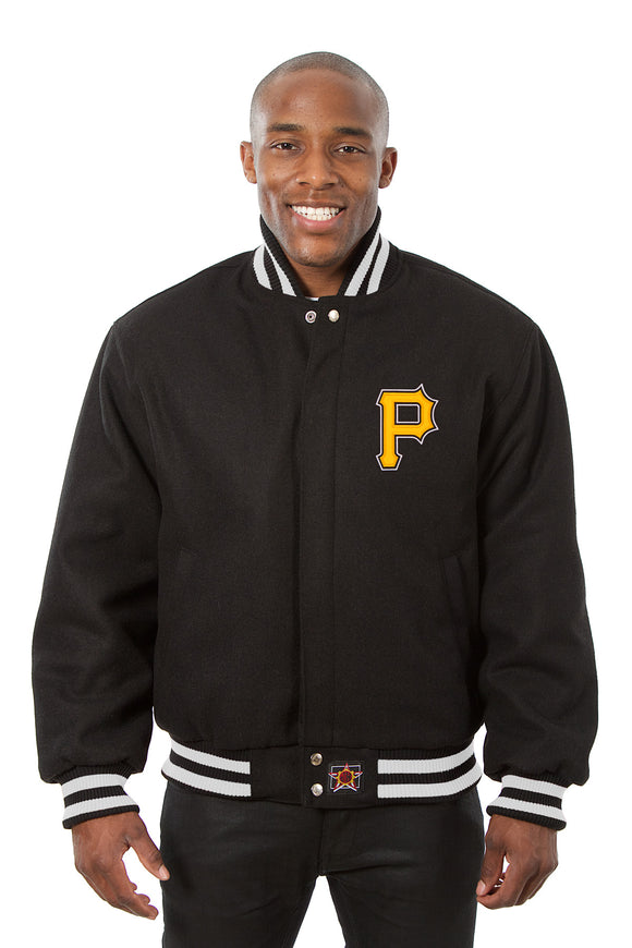 Pittsburgh Pirates Embroidered Wool Jacket - Black - JH Design