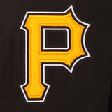 Pittsburgh Pirates Wool & Leather Reversible Jacket w/ Embroidered Logos - Black - JH Design