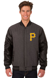 Pittsburgh Pirates Wool & Leather Reversible Jacket w/ Embroidered Logos - Charcoal/Black - J.H. Sports Jackets