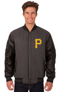 Pittsburgh Pirates Wool & Leather Reversible Jacket w/ Embroidered Logos - Charcoal/Black