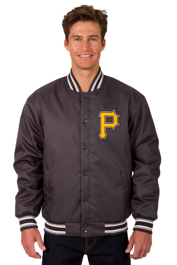 Pittsburgh Pirates Poly Twill Varsity Jacket - Charcoal - JH Design