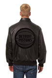 Detroit Pistons Full Leather Jacket - Black/Black