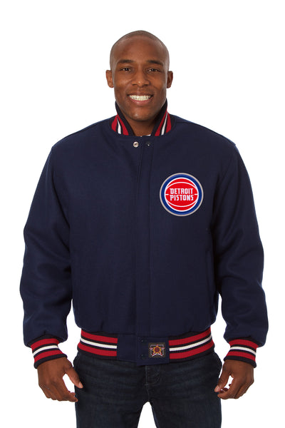 Detroit Pistons Embroidered Wool Jacket - Navy