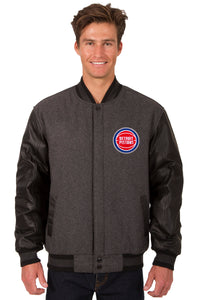 Detroit Pistons Wool & Leather Reversible Jacket w/ Embroidered Logos - Charcoal/Black