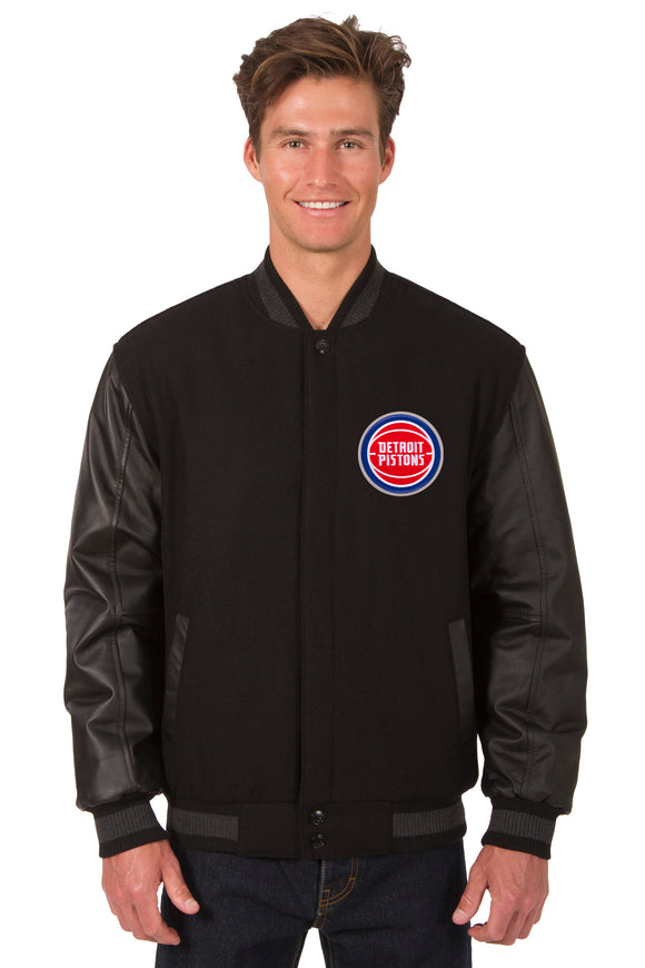 Detroit Pistons Wool & Leather Reversible Jacket w/ Embroidered Logos - Black