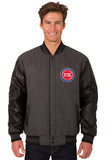 Detroit Pistons Wool & Leather Reversible Jacket w/ Embroidered Logos - Charcoal/Black - J.H. Sports Jackets