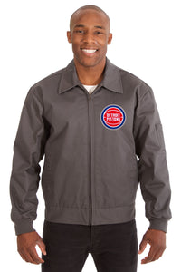 Detroit Pistons Cotton Twill Workwear Jacket - Charcoal - JH Design