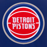 Detroit Pistons - JH Design Reversible Fleece Jacket with Faux Leather Sleeves - Royal/White - JH Design