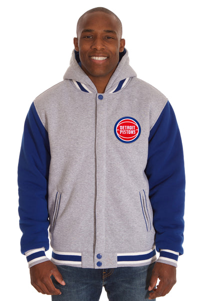 Detroit Pistons Two-Tone Reversible Fleece Hooded Jacket - Gray/Royal