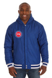 Detroit Pistons Two-Tone Reversible Fleece Hooded Jacket - Gray/Royal - JH Design
