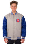 Detroit Pistons Poly Twill Varsity Jacket - Gray/Royal