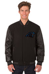 Carolina Panthers Wool & Leather Reversible Jacket w/ Embroidered Logos - Black