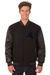 Carolina Panthers Wool & Leather Reversible Jacket w/ Embroidered Logos - Black - J.H. Sports Jackets