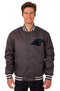 Carolina Panthers Poly Twill Varsity Jacket - Charcoal - JH Design