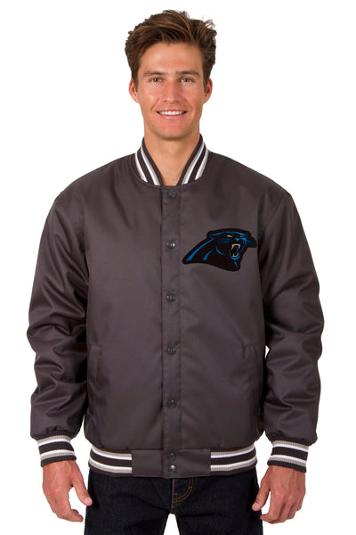 Carolina Panthers Poly Twill Varsity Jacket - Charcoal