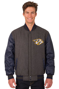 Nashville Predators Wool & Leather Reversible Jacket w/ Embroidered Logos - Charcoal/Navy