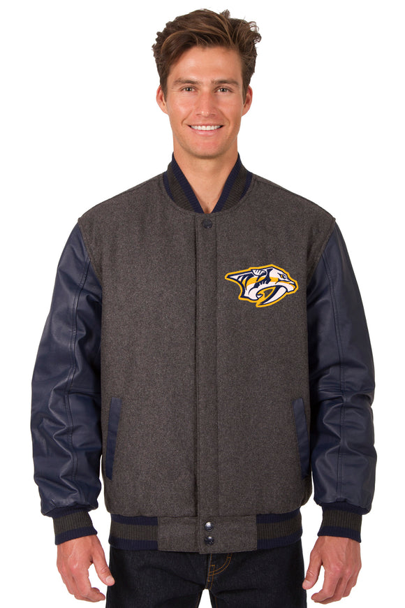 Nashville Predators Wool & Leather Reversible Jacket w/ Embroidered Logos - Charcoal/Navy - JH Design