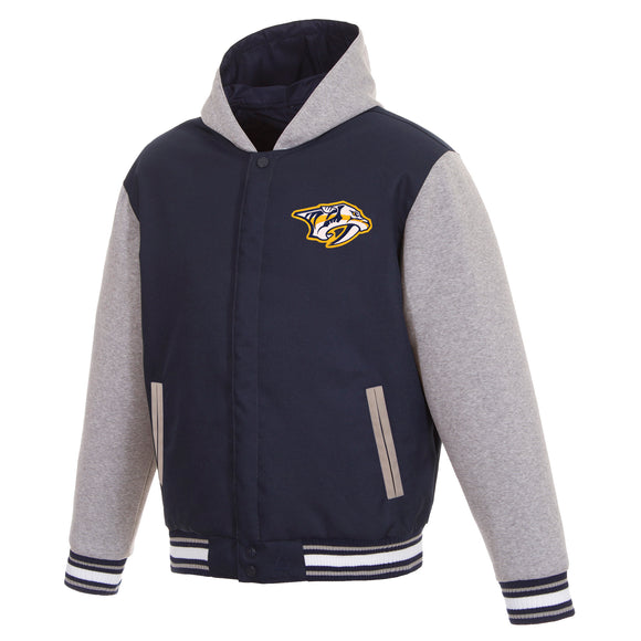 Nashville Predators Two-Tone Reversible Fleece Hooded Jacket - Navy/Grey - JH Design