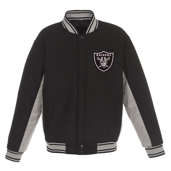 Las Vegas Raiders JH Design Wool Reversible Full-Snap Jacket – Black - JH Design