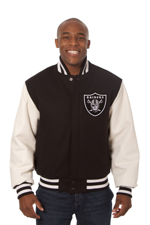 Oakland Raiders Two-Tone Wool and Leather Jacket - Black/White - JH Design