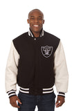 Las Vegas Raiders Two-Tone Wool and Leather Jacket - Black/White - JH Design