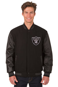 Las Vegas Raiders Wool & Leather Reversible Jacket w/ Embroidered Logos - Black - JH Design